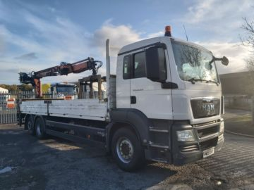 2009 09 MAN TGS 26.320 DROP SIDE REAR MOUNTED CRANE