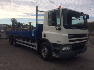 2008 08 DAF CF75.310 DROP SIDE BODY REAR MOUNTED CRANE EURO 4